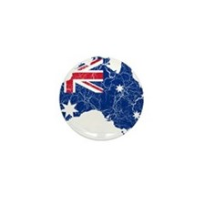 Australia Flag And Map Mini Button