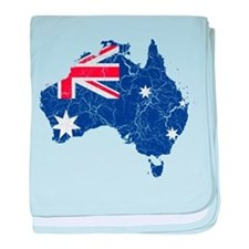 Australia Flag And Map baby blanket