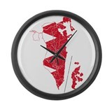 Bahrain Flag And Map Large Wall Clock