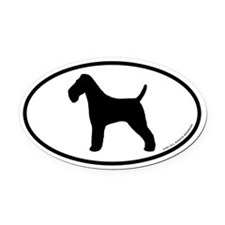 Wire Fox Terrier Oval Car Magnet