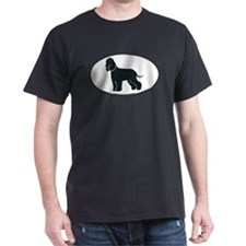 Irish Water Spaniel Silhouette Black T-Shirt