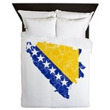 Bosnia And Herzegovina Flag And Map Queen Duvet