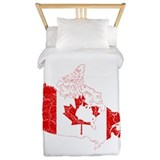 Canada Flag And Map Twin Duvet