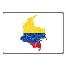 Colombia Flag And Map Banner