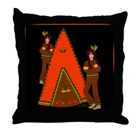 Native American Indian Tale Throw Pillow
