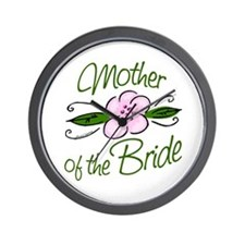 Pink Flower Mother of Bride Wall Clock