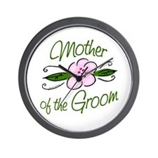 Pink Flower Mother of Groom Wall Clock