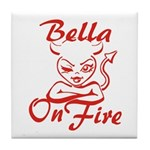 Bella On Fire Tile Coaster