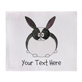 Dutch Rabbit. Custom Text. Throw Blanket