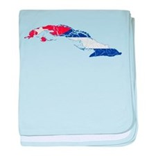 Cuba Flag And Map baby blanket