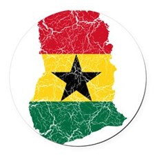 Ghana Flag And Map Round Car Magnet