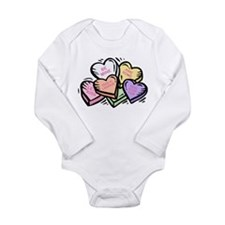 Candy Hearts I Long Sleeve Infant Bodysuit