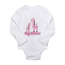 Big Sister Pink Giraffes Long Sleeve Infant Bodysu