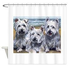 Three Westies Shower Curtain