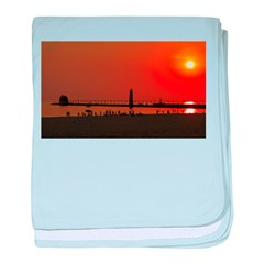 Sunset at Grand Haven baby blanket