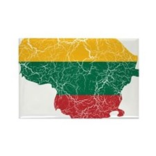 Lithuania Flag And Map Rectangle Magnet