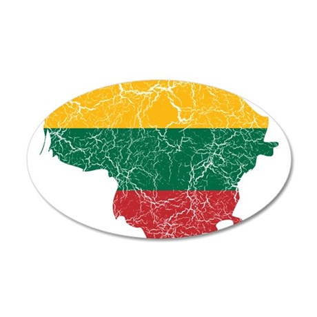 Lithuania Flag And Map 35x21 Oval Wall Decal
