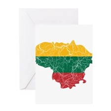 Lithuania Flag And Map Greeting Card