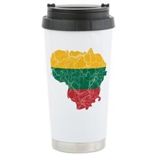 Lithuania Flag And Map Ceramic Travel Mug