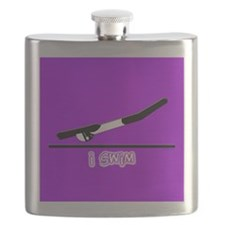 i swim (girl) solid purple Flask