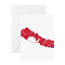Nepal Flag And Map Greeting Card