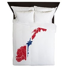 Norway Flag And Map Queen Duvet