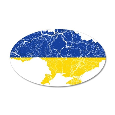 Ukraine Flag And Map 35x21 Oval Wall Decal