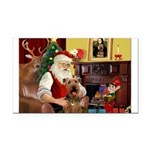Santas Airedale Rectangle Car Magnet