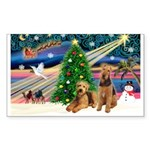 XmasMagic/Airedale Sticker (Rectangle)