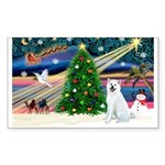 Xmas Magic & Akita Sticker (Rectangle)