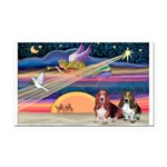 Xmas Star & 2 Bassets Rectangle Car Magnet