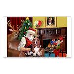 Santa's Basset Hound Sticker (Rectangle 50 pk)