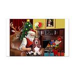 Santa's Basset Hound Rectangle Car Magnet