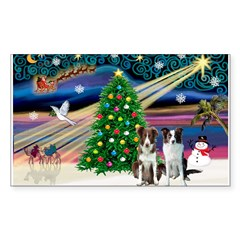 XmasMagic/2 Border Collies Sticker (Rectangle)