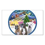 Xmas Magic / 3 Boxers Sticker (Rectangle 50 pk)