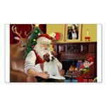 Santa & His Brittany Sticker (Rectangle)