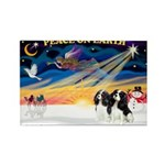 XmasSunrise/2 Cavaliers Rectangle Magnet (10 pack)