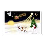 Night Flight/3 Chihuahuas Rectangle Car Magnet