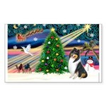 Xmas Magic & Collie Sticker (Rectangle)