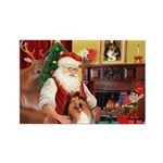 Santa's Collie Rectangle Magnet