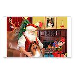 Santa's Collie Sticker (Rectangle)