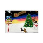 XmasSigns/2 Dachshunds Rectangle Magnet (10 pack)