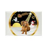 Night Flight/Dachshund #13 Rectangle Magnet (10 pa