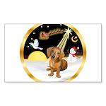 Night Flight/Dachshund #13 Sticker (Rectangle 50 p