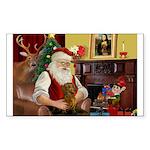 Santa's Dachshund (b) Sticker (Rectangle 10 pk)