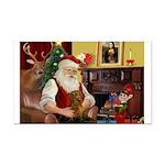 Santa's Dachshund (b) Rectangle Car Magnet