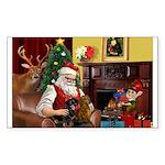 Santa/Two Dachshunds (BB) Sticker (Rectangle 10 pk