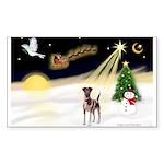 Night Flight/Fox Terrier 5 Sticker (Rectangle 10 p