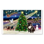 XmasMagic/French Bulldog Sticker (Rectangle 50 pk)