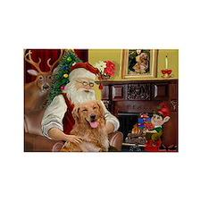 Santas Gold Retriever Rectangle Magnet